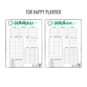 July Monthly Classic Happy Planner Budget Planner Printable