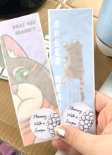 "Load image into Gallery viewer, Handmade Card Stock Cat Bookmark | ""Speed Reader"" Rye 002"