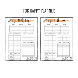 August Monthly Classic Happy Planner Budget Planner Printable