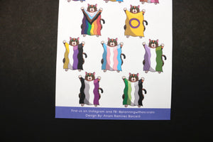 Hand Drawn Jumping with Pride Cat Planner Stickers | Choose your Pride Flag