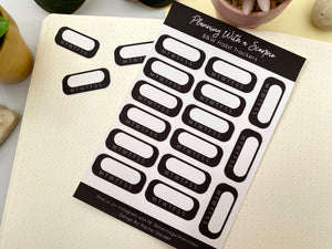 Black and White Habit Tracker Planner Stickers