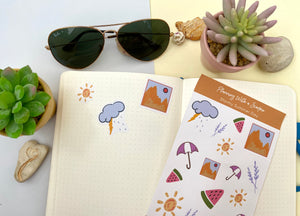 Hand Drawn Rainy Summer Day Planner Stickers