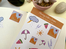 Load image into Gallery viewer, Hand Drawn Rainy Summer Day Planner Stickers