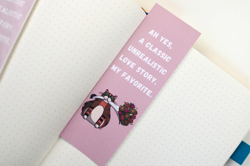 Handmade Card Stock Cat Bookmark |