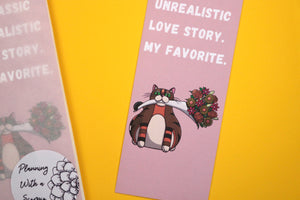 "Handmade Card Stock Cat Bookmark | ""Unrealistic Love Story"" Rye 004"