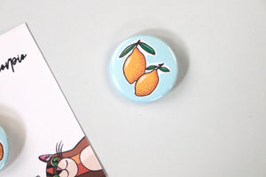 1 Inch Sketched Lemons Pin | Hand Drawn Decorative Pin | Minimal Lemon Pin | Pin Badge for Backpacks, Hats, Jackets, and Masks
