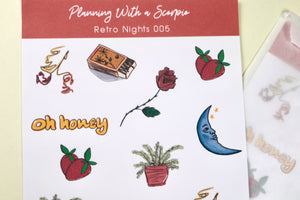 Retro Nights Minimal Planner Stickers | Retro Nights 005