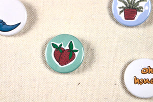 1in Minimal Strawberry Pin Badge for Backpacks, Jackets, Masks and More