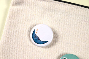 1in Minimal Moon Pin Badge for Backpacks, Jackets, Masks and More