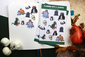 Hand Drawn Cat Halloween Costume Planner Stickers