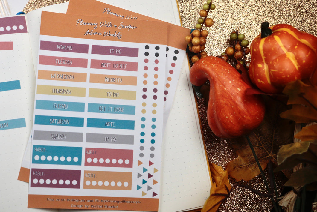 Weekly Fall Planner Stickers