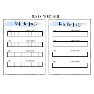 Printable Debt Tracker for Erin Condren Life Planner
