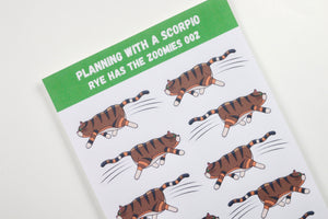 Rye With the Zoomies | Hand Drawn Cat Stickers 002