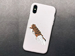 Waterproof Matte Vinyl Zooming Cat Sticker