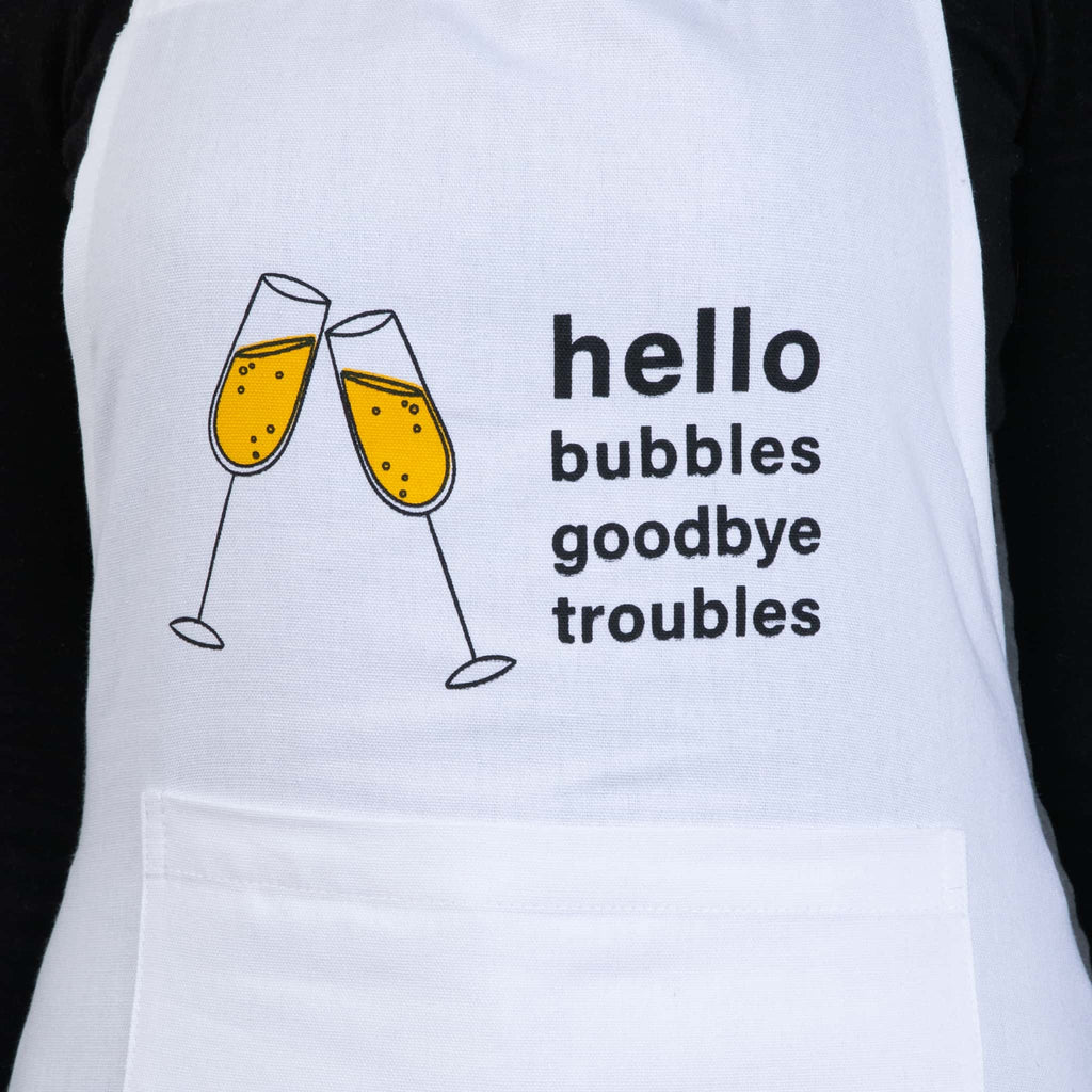 hello bubbles goodbye troubles wine apron