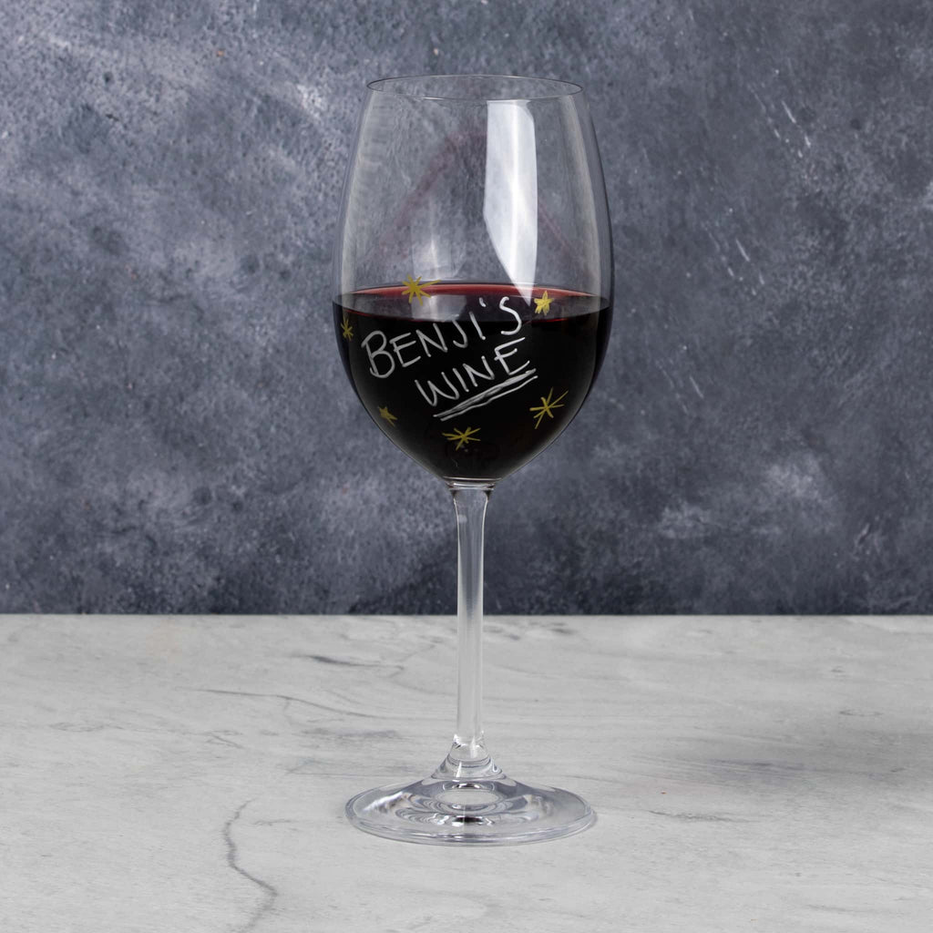 Wine glass with writing