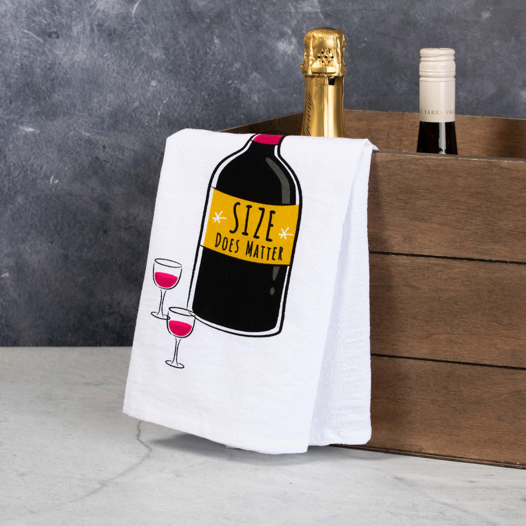 Size does Matter bar towel with wine bottles