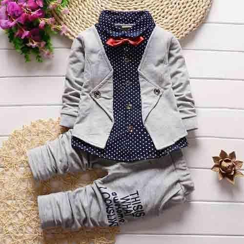 BABY BOYS CLOTHING SETS COTTON LONG SLEEVE BOWTIE SHIRTS