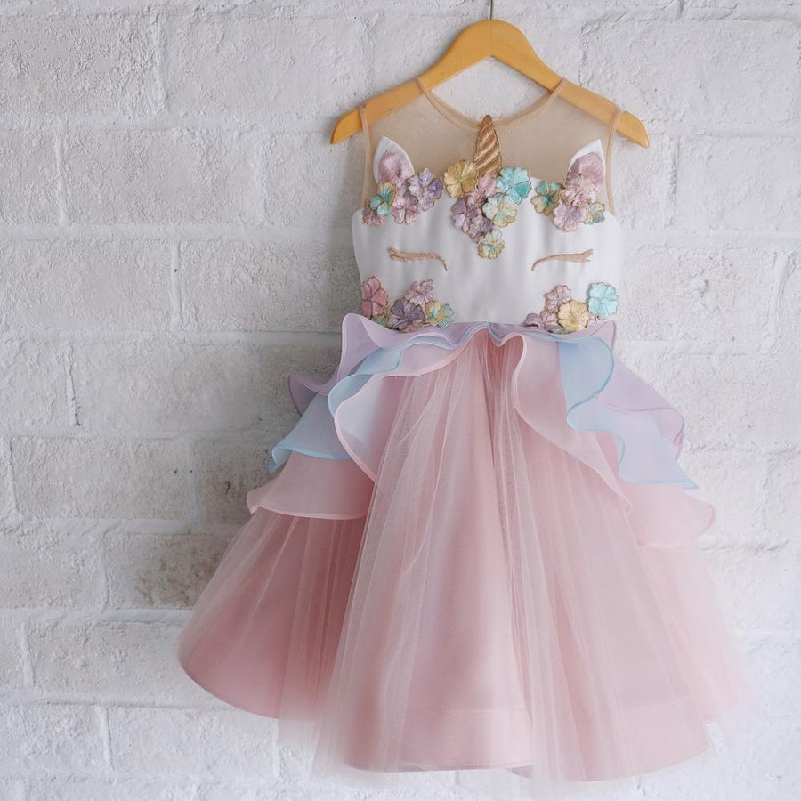 CHIFFON BABY GIRLS UNICORN DRESS WEDDING PARTY FORMAL BABY GIRL DRESS BIRTHDAY DRESS FOR BABY GIRL