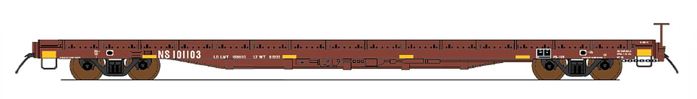 HO 60' Wood Deck Flat Car - Norfolk Southern (Ex-Southern)