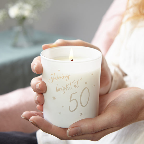 50th Birthday Gift Shining Bright Candle