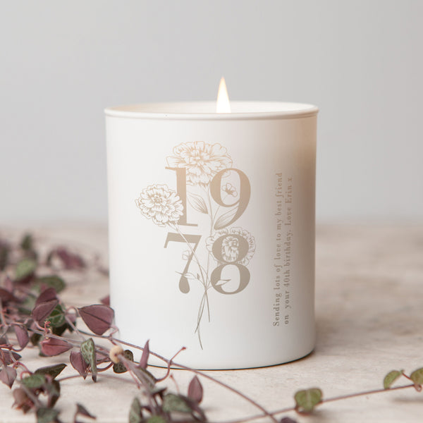 Any Year Floral Glow Through Candle