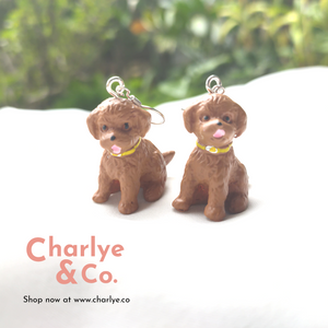 Toy Poodle Earrings by Charlye & Co, a fashion accessories shop in Singapore