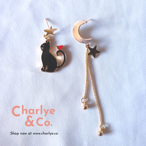 Cat & Moon Earrings