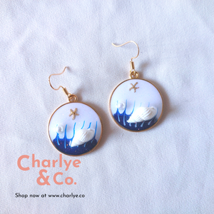 Wave & Seashell Resin Earrings