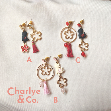 Cat & Sakura Earrings