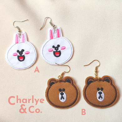 Line Bear & Rabbit Earrings