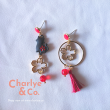 Load image into Gallery viewer, Cat & Sakura Earrings