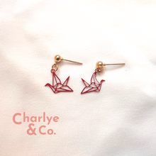 Load image into Gallery viewer, Red Origami Earrings