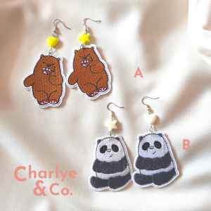 Panda & Grizzly We Bare Bears Earrings