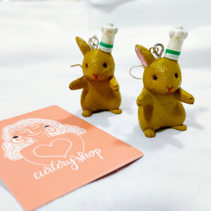 Charlye & Co.'s Brown Rabbit Chef Earrings
