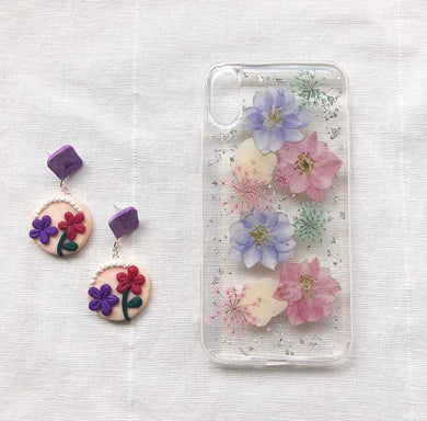 Collaboration between Burning Blooms & Charlye & Co., Spring Collection, Polymer Clay Flower Earrings and Phone Case with Pink and Purple Flowers