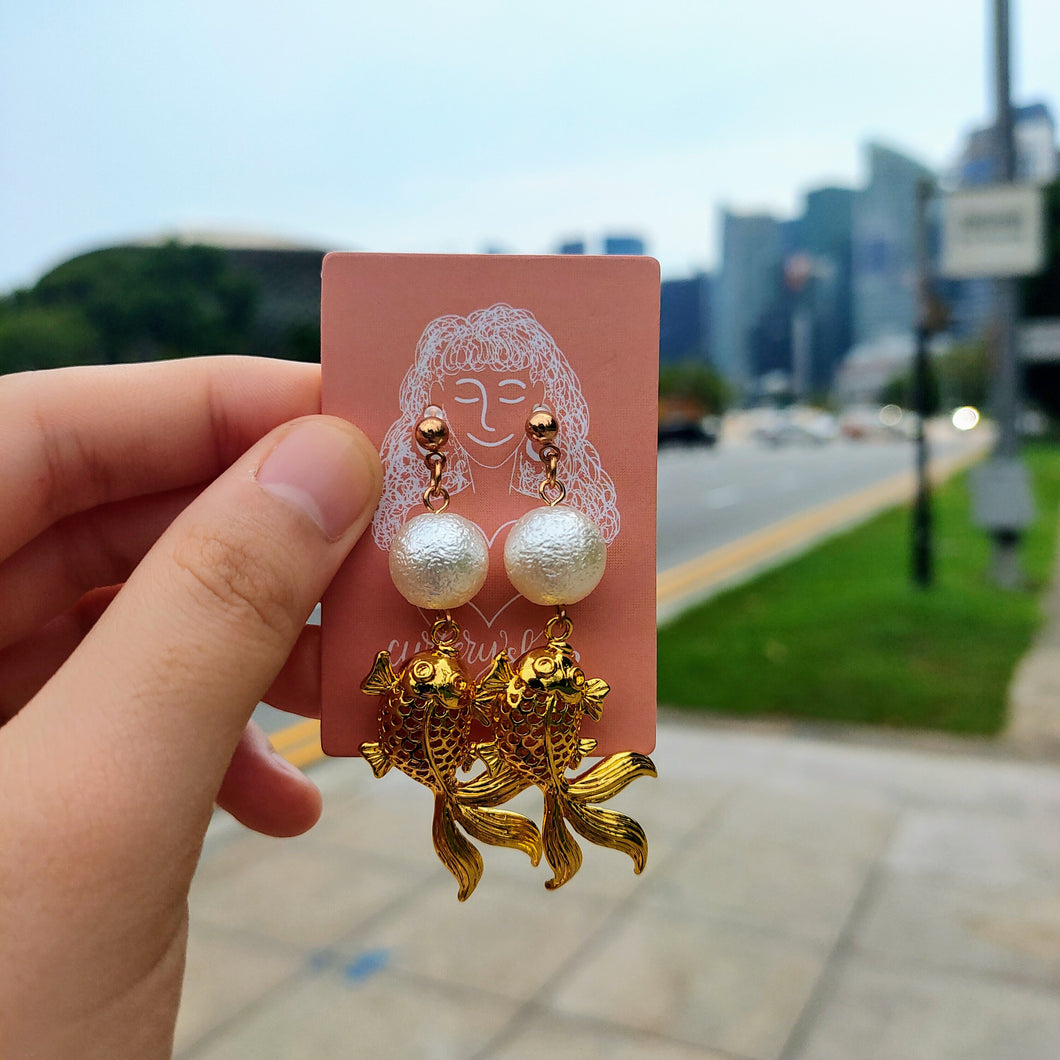 Charlye & Co.'s Lucky Golden Fish with pearl for Chinese New Year Earrings