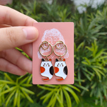 Load image into Gallery viewer, Orange & Black Cat Earrings