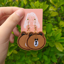 Load image into Gallery viewer, Charlye & Co. Brown Line Bear Earrings