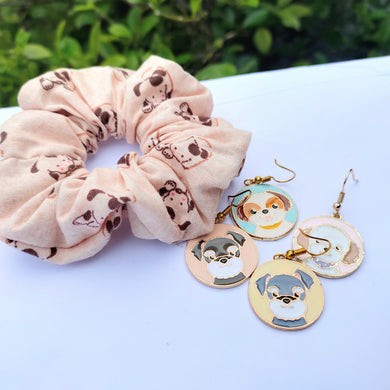 Dog scrunchie and earrings by Charlye & Co, a fashion accessories shop in Singapore