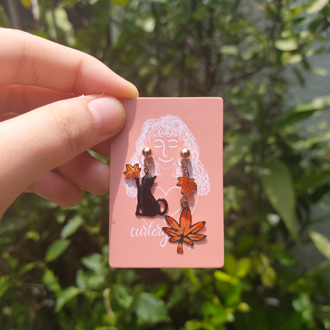 Autumn Cat Earrings