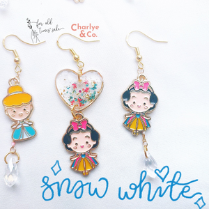 Disney Snow White and the Seven Dwarfs Earrings by Charlye & Co., a fashion accessories shop in Singapore and FOTS. Made of Handpressed Red Flower Resin with White Crystal