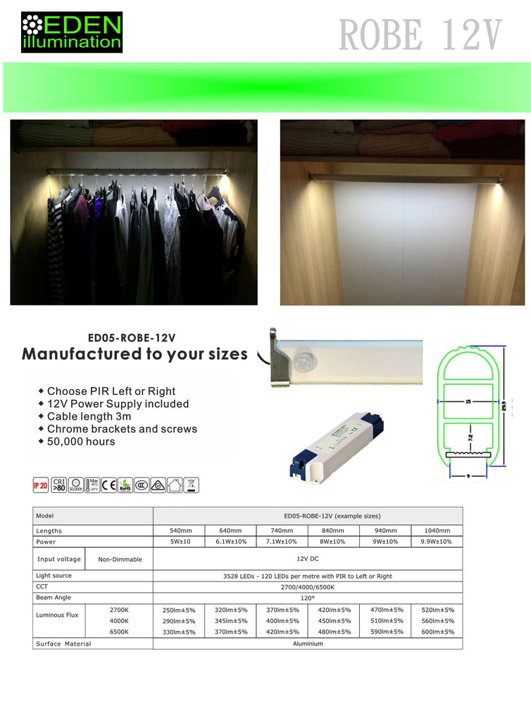 LED Wardrobe hanging rail with 120 LEDs per m 12V