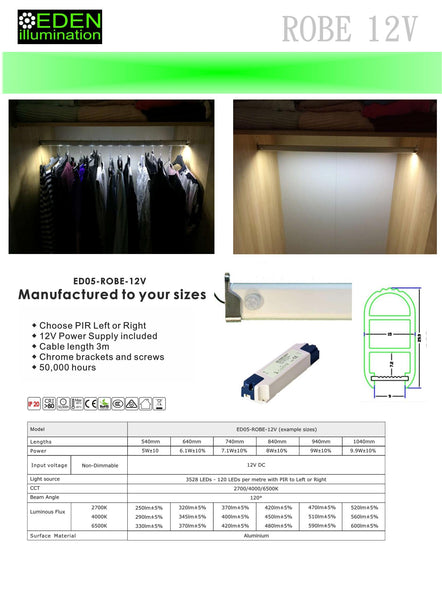 12V LED Wardrobe Rails by Eden illumination