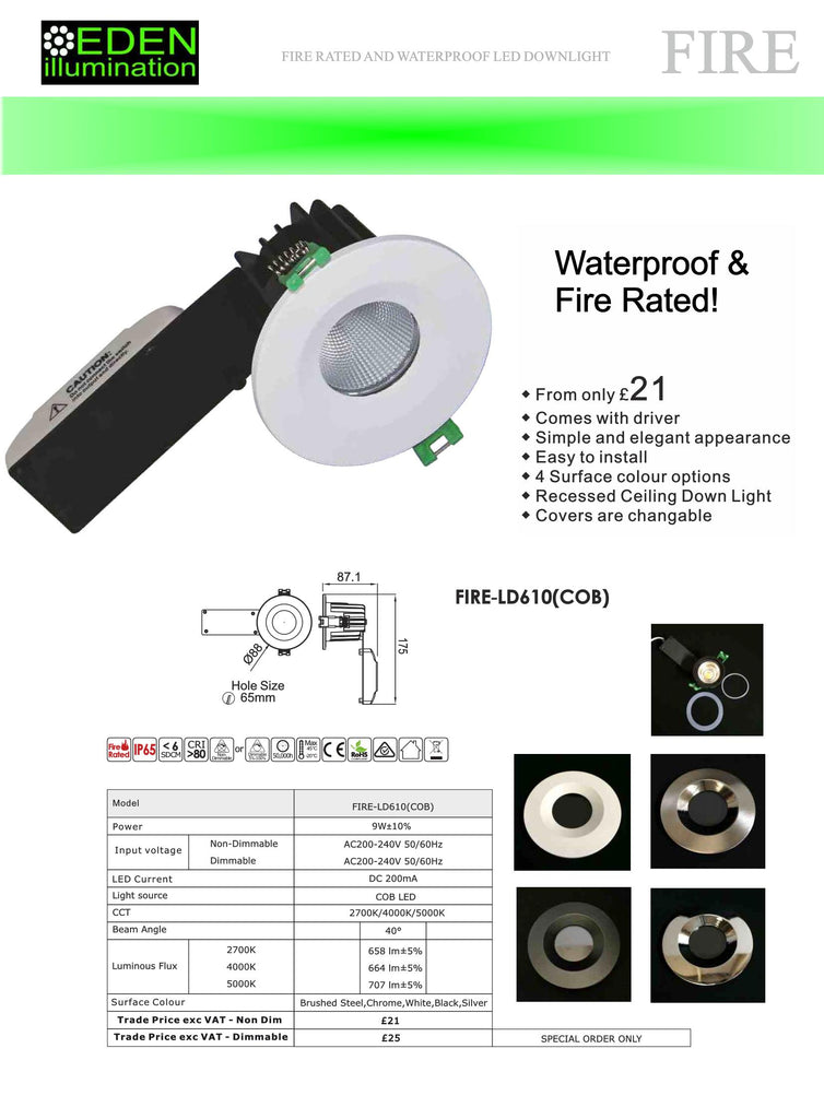LED Fire Down Light Datasheet