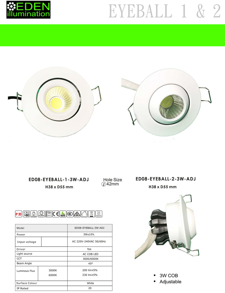 Down Lights - Mini Adjustable Down Lights 3W from Eden illumination