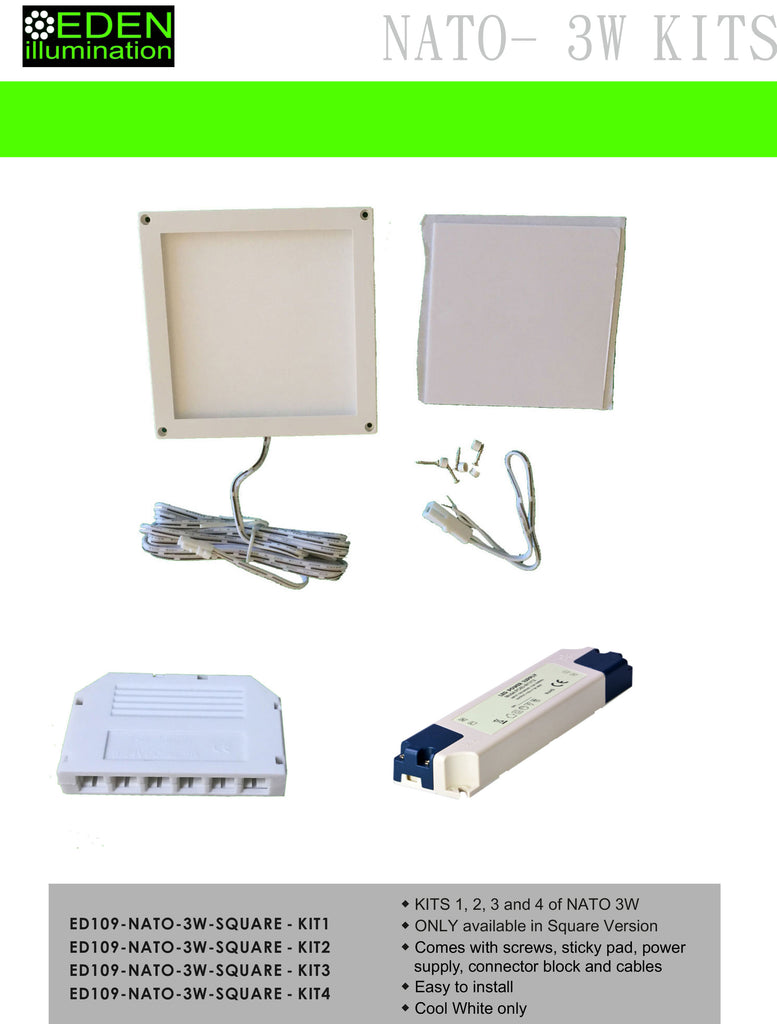 NATO KITS 1-4 Mini Panel lights with power supply - Kitchen Lighting from Eden illumination