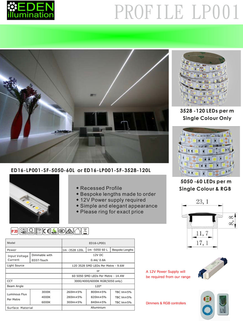 Kitchen Ideas - LED Profile - Recessed - 5050 LEDs for Kitchen Lighting from Eden illumination