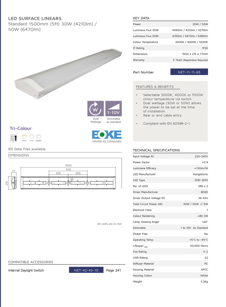 11-11-65 Standard Surface Linear Light Fitting