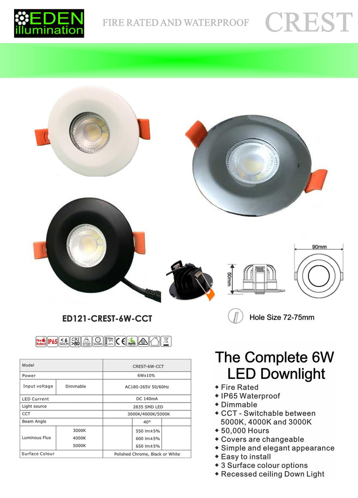 Bathroom Downlights - Crest Downlight from Eden illumination